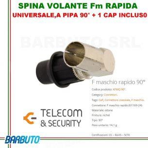 SPINA VOLANTE F MASCHIO RAPIDO UNIV. A PIPA 90° + 1 CAP NERO - TELECOM & SECURITY