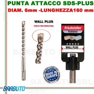 PUNTA DA 6 mm - LUNG.160mm, PER MURATURA ATTACCO SDS-PLUS friulsider WALL PLUS