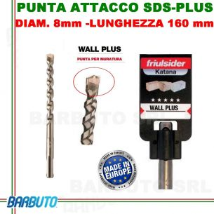 PUNTA DA 8 mm - LUNG.160mm, PER MURATURA ATTACCO SDS-PLUS friulsider WALL PLUS