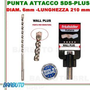 PUNTA DA 6 mm - LUNG.210mm, PER MURATURA ATTACCO SDS-PLUS friulsider WALL PLUS