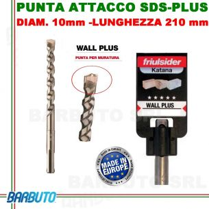 PUNTA DA 10 mm - LUNG.210mm, PER MURATURA ATTACCO SDS-PLUS friulsider WALL PLUS