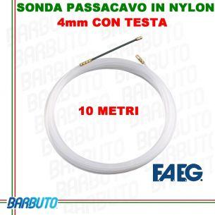 SONDA PASSACAVO IN NYLON CON TESTA, 4mm 10 metri, FAEG