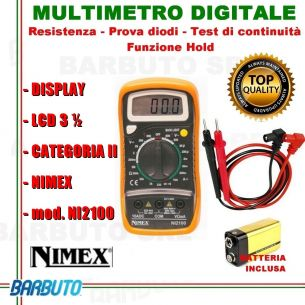 TESTER MULTIMETRO PORTATILE DIGITALE CON DISPLAY LCD 3½ mod. NI2100