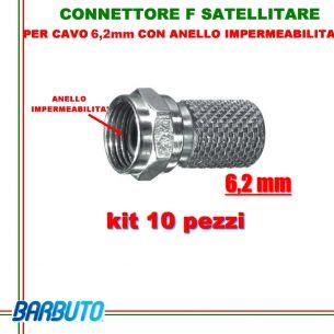 10 CONNETTORI F A VITE PER CAVO DA 6,2 mm CON ANELLO IMPERMEABILITA' O-RING