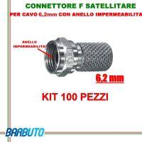 CONNETTORI F A VITE PER CAVO DA 6,2 mm CON ANELLO IMPERMEABILITA' O-RING 100 PZ.