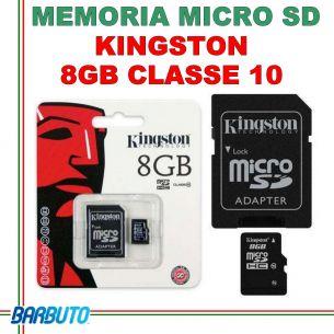 MEMORIA SECURE DIGITAL MICRO SD KINGSTON 8GB CLASSE 10