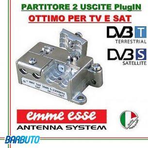 PARTITORE 2 USCITE EMMEESSE SERIE PlugIN MODELLO P2 IN PRESSOFUSIONE COD.81652