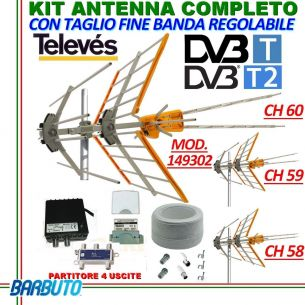 KIT ANTENNA DIGITALE TERRESTRE COMPLETO FULLBAND PER 4 PUNTI TV TELEVES 149302
