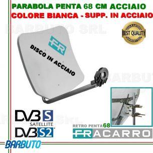 PARABOLA 68 CM IN ACCIAIO PENTA FRACARRO BIANCA SUPPORTO POSTER. ACCIAIO 211104