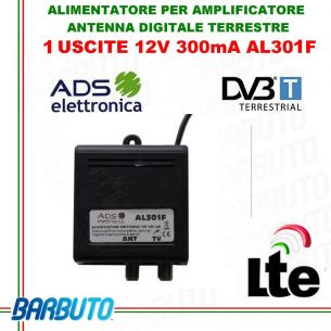 ALIMENTATORE PER AMPLIFICATORE ANTENNA DIGITALE TERRESTRE 12V 1OUT 300mA
