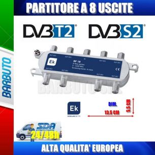 PARTITORE / DIVISORE / SPLITTER 8 OUT PER TV - SAT - SCR CON CONNET. F SCHERMATO