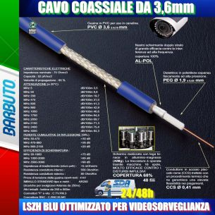 10 METRO DI CAVO MINI RG59 LSZH BLU 3,6mm VIDEOSORVEGLIANZA MESSI & PAOLONI