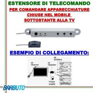 ESTENSORE DI TELECOMANDO PER MOBILI CHIUSI IDEALE PER DECODER, DVR, BLU RAY, DVD