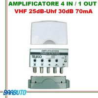 AMPLIFICATORE TV MULTIBANDA III-IV-V-UHF 4IN/1OUT (VHF 25dB - UHF 30dB) 70mA