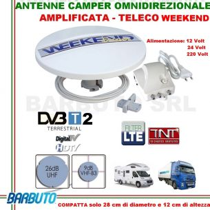 ANTENNA TV DA CAMPER O BARCA -TELECO WEEKEND OMNIDIREZIONALE 360°+ AMPLIFICATORE