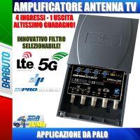 AMPLIFICATORE DA PALO 4 INGRESSI III+IV+V+UHF 30dB REGOLABILE SELEZIONE LTE/5G