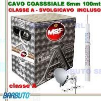 100 METRI DI CAVO TV COASSIALE 6,5mm CLASSE A IN COMODO SVOLGICAVO INCLUSO MESSI E PAOLONI SPEEDY6 PER SAT/DVBT2