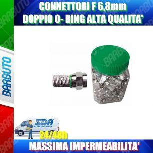 CONNETTORE F 6,8 mm CON O-RING VERDE, IMPERMEABILE, ALTA' QUALITA'