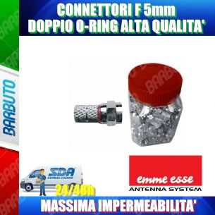 CONNETTORE F 5 mm CON O-RING ROSSO, IMPERMEABILE, ALTA' QUALITA'