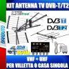 KIT ANTENNA TV DIGITALE TERRESTRE VHF + UHF PER VILLETTA O CASA SINGOLA