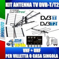 KIT ANTENNA TV DIGITALE TERRESTRE VHF + UHF PER VILLETTA O CASA SINGOLA