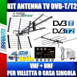 KIT ANTENNA TV DIGITALE TERRESTRE VHF + UHF PER VILLETTA O CASA SINGOLA 2 PRESE