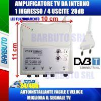 AMPLIFICATORE SEGNALE TV 28db A 4 USCITE, MIGLIORA/POTENZIA IL SEGNALE TV