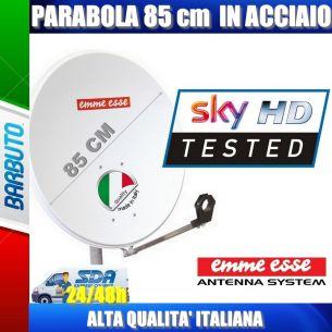 PARABOLA 85 CM IN ACCIAIO EMMEESSE ANTENNA SATELLITARE CON SUPPORTO IN ACCIAIO