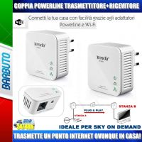 POWERLINE ESTENSORE INTERNET RX+TX NANO 200Mbit/s IDEALE PER SKY ONDEMAND