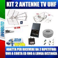 KIT ANTENNA DIGITALE TERRESTRE COMPLETO DI 2 ANTENNE UHF + AMPLI + ALIM + CAVO