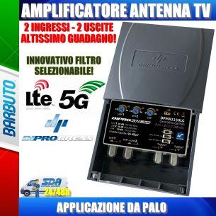 AMPLIFICATORE DA PALO ANTENNA TV 2 IN LOG+UHF - 2 OUT 30dB REGOLABILE LTE/5G
