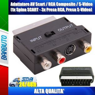 Adattatore AV Scart+RCA Composite+S-Video,1x Spina SCART,3x Presa RCA