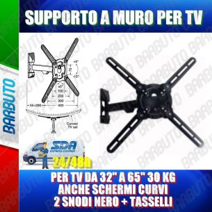 "SUPPORTO A MURO PER TV DA 32"" A 65"" 30 KG 2 SNODI NERO + TASSELLI - HIGH QUALITY"