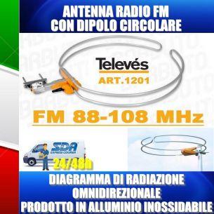 ANTENNA FM 88 - 108 MHz CON DIPOLO CIRCOLARE OMNIDIREZIONALE, TELEVES 1201