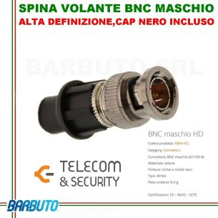 SPINA VOLANTE BNC MASCHIO CON SISTEMA CAP, ART. KBM-HD TELECOM E SECURITY