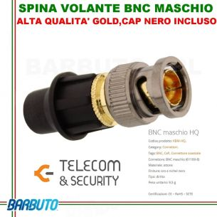 CAP SYSTEM SPINA BNC MASCHIO + CAP, HIGH QUALITY GOLD - TELECOM & SECURITY