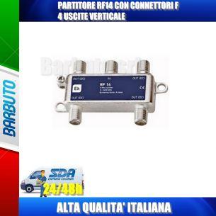 PARTITORE RF14 CON CONNETTORI F 4 USCITE VERTICALE