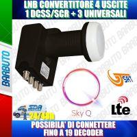 ILLUMINATORE LNB PER PARABOLA SKY Q GT-S3DCSS24 + 3 USCITE 0.1 dB 4K HD & 3D