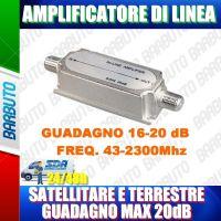 AMPLIFICATORE DI LINEA CON GUADAGNO MAX 20 dB - FREQUENZA 43-2300Mhz