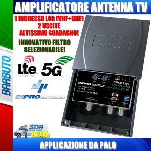AMPLIFICATORE DA PALO 1 IN LOG - 2 OUT GUADAGNO 20 dB REGOLABILE FILTRO LTE/5G