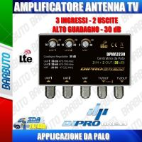 AMPLIFICATORE DA PALO ANTENNA TV 3 IN VHF + 2UHF - 2 OUT, 30 dB REGOLABILE LTE