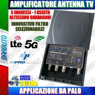 AMPLIFICATORE DA PALO ANTENNA TV 3 IN (VHF+2UHF) - 1 OUT 20dB REGOLABILE LTE/5G
