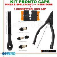 CAP SYSTEM COMPOSTO DA PINZA+SPALLACAVO+INSERITORE + 3 CONNETTORI+ 3 CAP