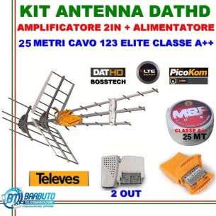 KIT ANTENNA TERRESTRE TELEVES COMBO DATHD790+AMPL.2IN+ALIMENTATORE+25MT CAVO A++