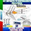 KIT IMPIANTO TV CENTRALIZZATO PER 8 PRESE, ANTENNA, CENTALINO, PARTITORE, CAVO