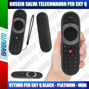 GUSCIO SALVA TELECOMANDO IN SILICONE ATOSSICO PER SKY Q BLACK - PLATINUM - MINI - NERO