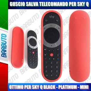 GUSCIO SALVA TELECOMANDO IN SILICONE ATOSSICO PER SKY Q BLACK - PLATINUM - MINI - ROSSO