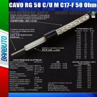 50 METRI DI CAVO RG58M C17-F 50 Ohms 6 mm, ALTISSIMA QUALITA' - MESSI E PAOLONI