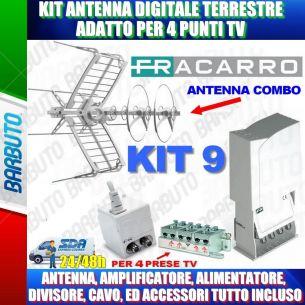 FRACARRO KIT 9 EVO CON SIGMA COMBO LTE PER 4 PRESE TV PER VILLETTA, CASA SINGOLA