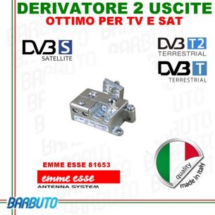 DERIVATORE 2 USCITE EMMEESSE SERIE PlugIN MODEL D2/12 IN PRESSOFUSIONE ART.81671